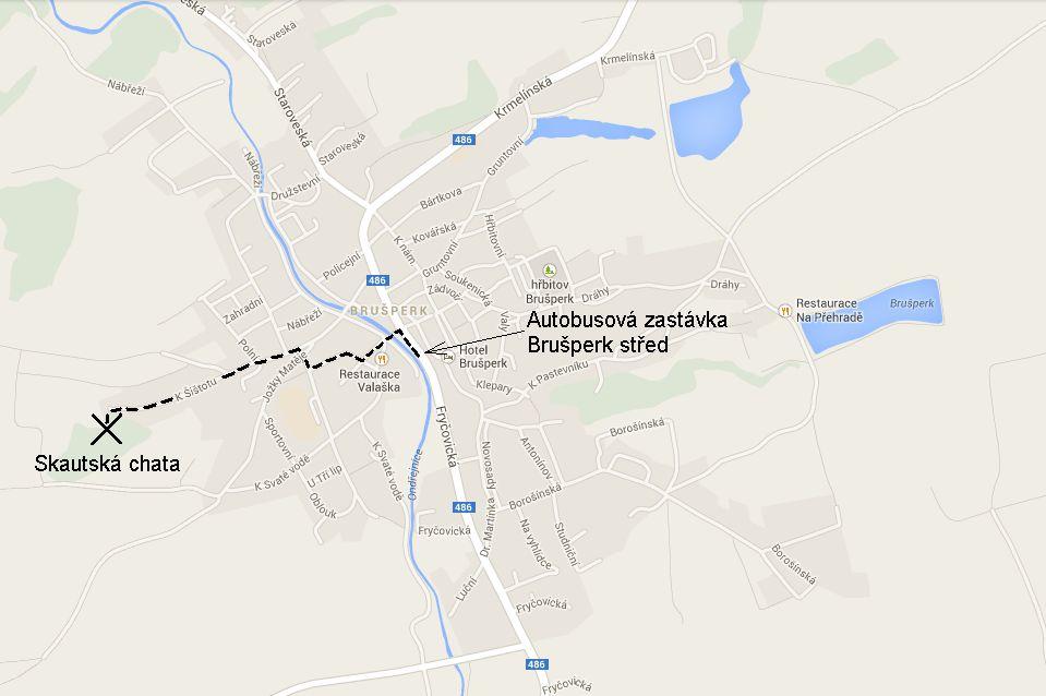 Mapa ke skautské chatě v Brušperku